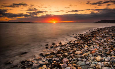 Coastline Digital Art - Sunset Deganwy Beach by Adrian Evans