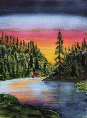Sunset Dock Fishing Art Print