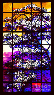 Glass Art - Sunset Dogwoods Neo Tiffany Window by Louis Comfort Tiffany and Peter Gumaer Ogden