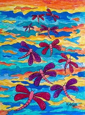 Drawing - Sunset Dragons by Megan Walsh
