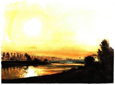 Golf Art Painting - Sunset Dwtc 2009 by Mark Robinson