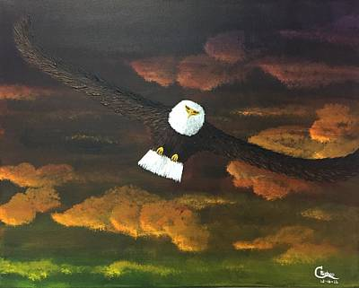 Painting - Sunset Eagle by Chris Bishop