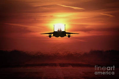 F15 Wall Art - Digital Art - Sunset Eagle by J Biggadike