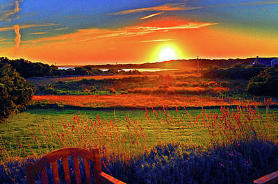 Sunset Eat Fire Spring Rd Nantucket Ma 02554 Large Format Artwork Original by Duncan Pearson