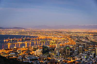 Photograph - Sunset Evening City Lights Harbour Cape Town by Carmen Tosca