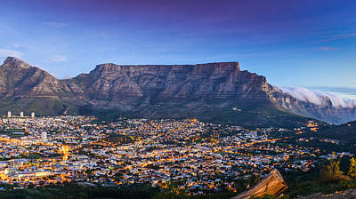 Photograph - Sunset Evening City Lights Table Mountain by Carmen Tosca
