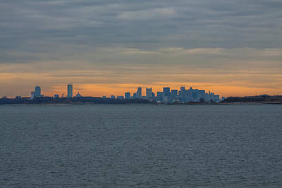 Photograph - Sunset Falls On The Boston Skyline by Brian MacLean