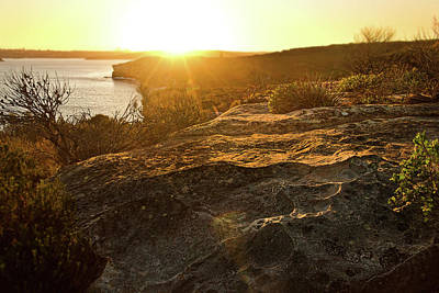 Photograph - Sunset Falls Over North Head Rocks by Miroslava Jurcik