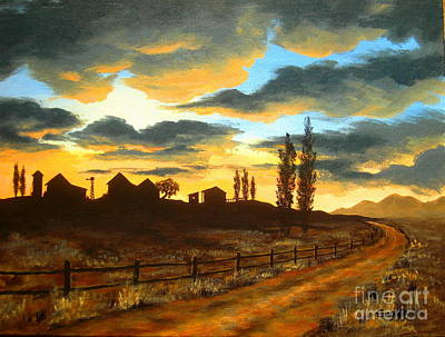 Sunset  Farm Art Print by Shasta Eone