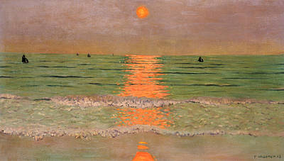 Reflecting Sunset Painting - Sunset by Felix Edouard Vallotton