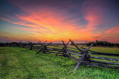 Battlefield Site Photograph - Sunset Fence by Ryan Wyckoff