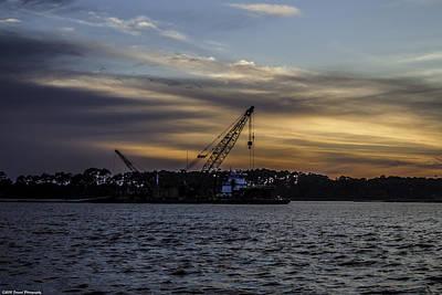 Photograph - Sunset Dredging  by Debra Forand