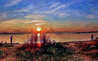Photograph - Sunset Fishermen by Jerry Gammon