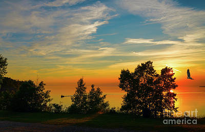 Photograph - Sunset Fishing At Lake Superior by Les Palenik