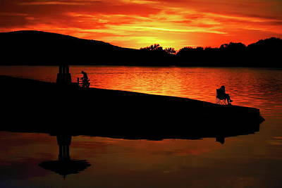 Photograph - Sunset Fishing At Memorial Park by Dale Kauzlaric
