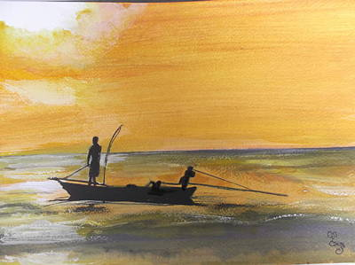Painting - Sunset Fishing by Carole Robins