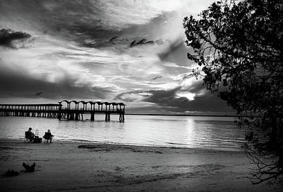 Atlantic Photograph - Sunset Fishing In Black And White by Chrystal Mimbs
