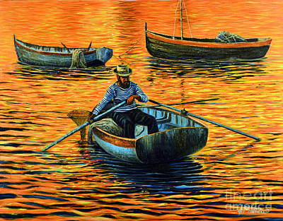 Sunset Fishing Original by Ricardo Chavez-Mendez