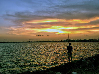 Photograph - Sunset Fishing by Robert Brown