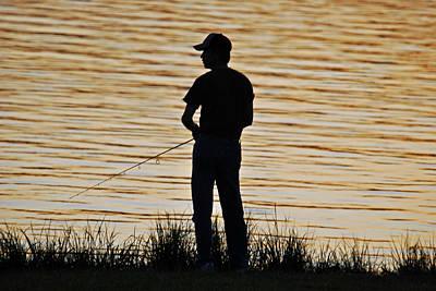 Art Print featuring the photograph Sunset Fishing by Teresa Blanton