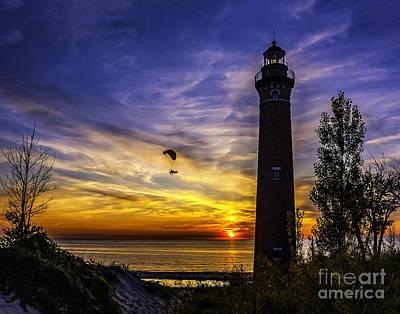 Watercolor Butterflies - Sunset Flyer at the Light by Nick Zelinsky