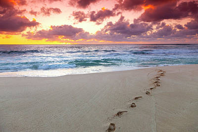 Photograph - Sunset Footprints by Sean Davey