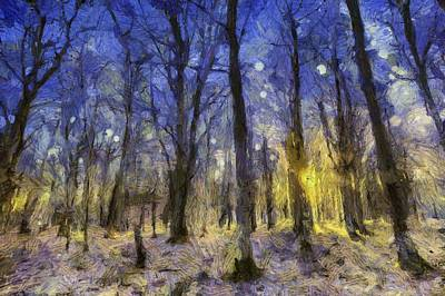 Mixed Media - Sunset Forest Van Gogh by David Pyatt
