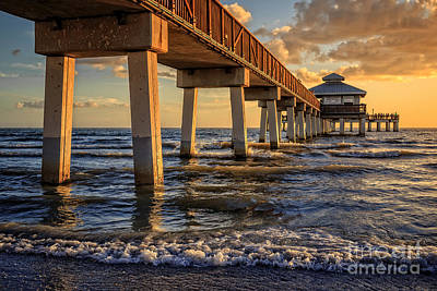 Photograph - Sunset Fort Myers Beach Fishing Pier by Edward Fielding