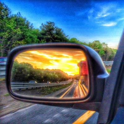 Photograph - Sunset Framed In The Rearview by Nick Heap