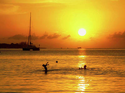 Photograph - Sunset Frolic - Jamaica  by Peggy And Marco Lachmann - Anke