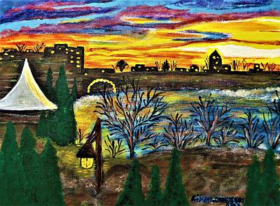 Painting - Sunset From My Deck by Gina Nicolae Johnson