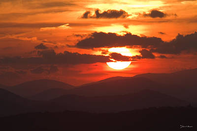 Sunset From The Blue Ridge Parkway Art Print by John Harmon