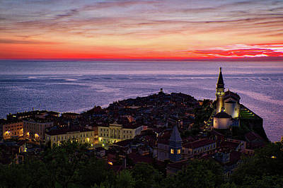Photograph - Sunset From The Walls #3 - Piran Slovenia by Stuart Litoff