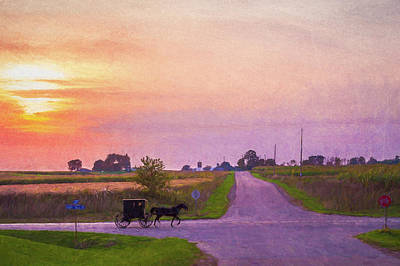 Art Print featuring the photograph Sunset Gallop by Joel Witmeyer