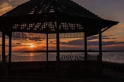 Photograph - Sunset Gazebo Beach Haven Nj January 2017 by Terry DeLuco