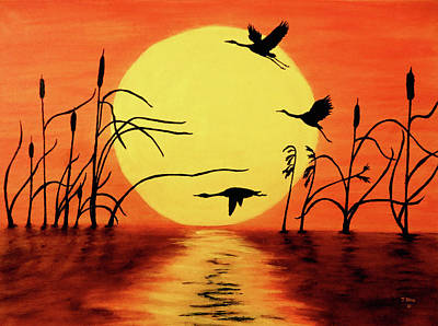 Goose Wall Art - Painting - Sunset Geese by Teresa Wing