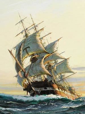 Water Vessels Painting - Sunset Glow - Detail by Montague Dawson