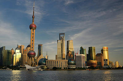 Shanghai Photograph - Sunset Glow On High Rise Financial Towers And Hotels In The Pudo by Reimar Gaertner