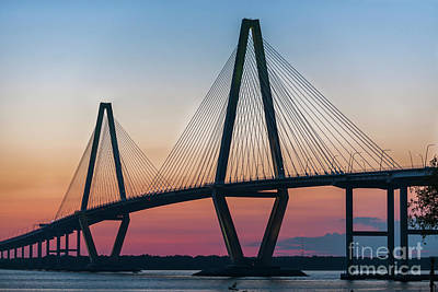Photograph - Sunset Glow Over The Cooper River Bridge by Dale Powell