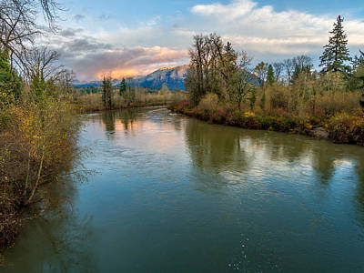 Sunset Glow Over The Snoqualmie River Art Print