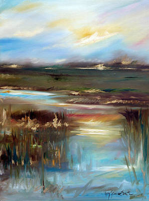 Waterscape Painting - Sunset Gold by Mary Sparrow