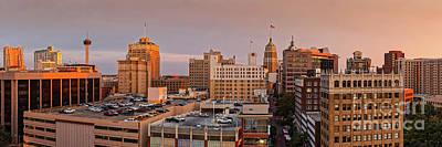 Photograph - Sunset Golden Hour Light Panorama Of San Antonio Skyline - Bexar County South Texas by Silvio Ligutti