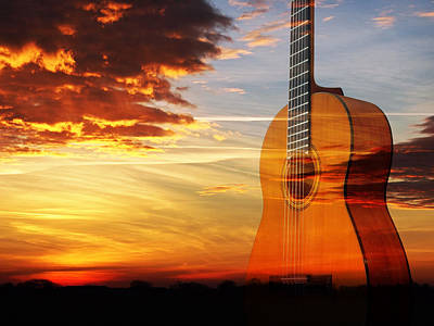Prairie Sunset Wall Art - Photograph - Sunset Guitar Serenade by Gill Billington