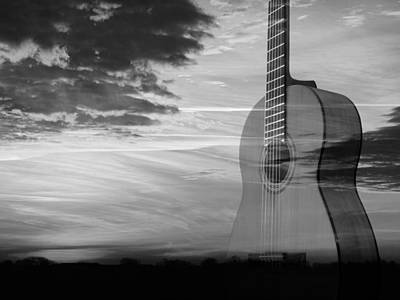 Photograph - Sunset Guitar Serenade In Mono by Gill Billington