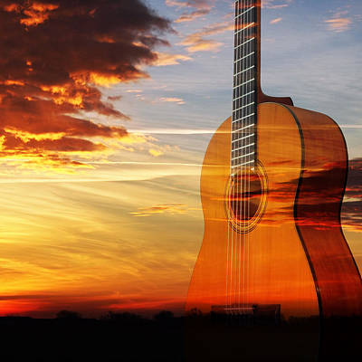 Prairie Sunset Photograph - Sunset Guitar Serenade Square by Gill Billington