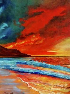 Sunset Hawaii Art Print by Jenny Lee