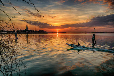 Photograph - Sunset Heading Home Venice Italy_dsc4921_03032017 by Greg Kluempers