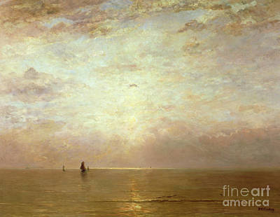 Seascape. Wave Painting - Sunset by Hendrik William Mesdag