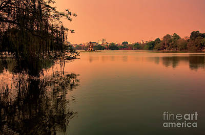Kiem Photograph - Sunset Hoan Kiem Lake  by Chuck Kuhn