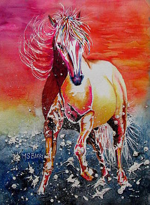 Horse In Water Painting - Sunset Horse by Maria Barry